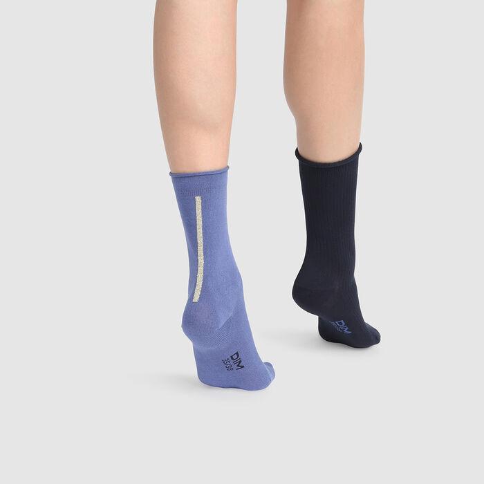 Pack de 2 pares de calcetines de media caña modal lurex oro azul Dim Modal, , DIM