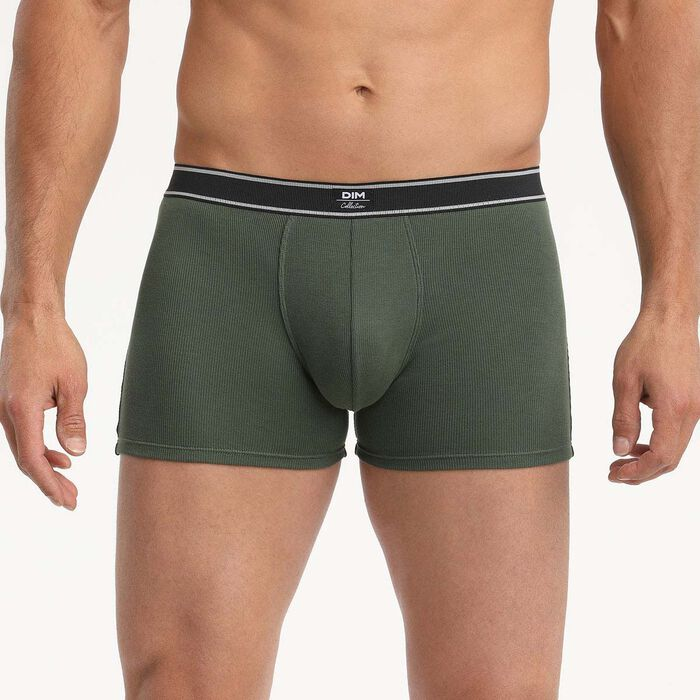 Bóxer para hombre de algodón modal acanalado de estilo retro Verde Caqui Dim Élégant, , DIM