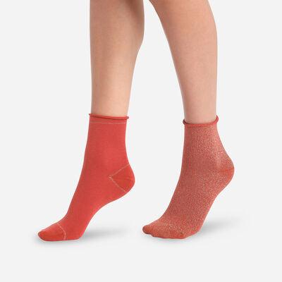 Juego de 2 pares de calcetines bajos de mujer Óxido y Lúrex Dorado Coton Style, , DIM
