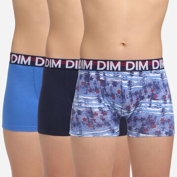 Pack de 3 bóxers para niño de algodón elástico azules Eco Dim 3D, , DIM
