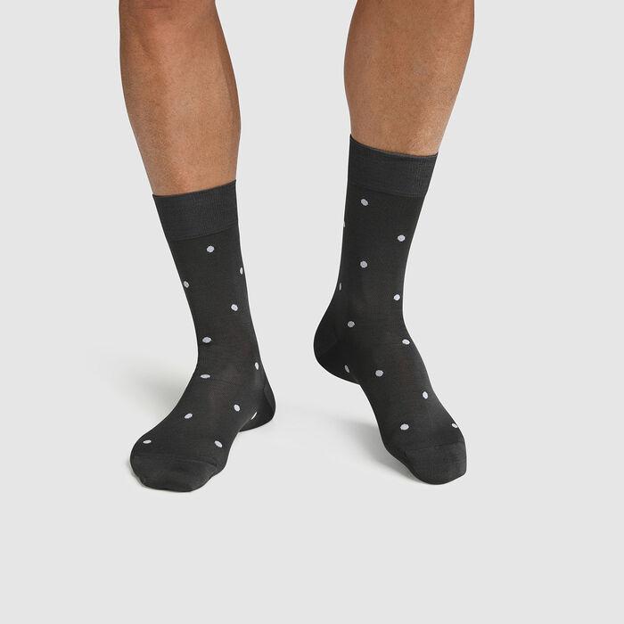 Calcetines para hombre hilo de Escocia de lunares azul Made in France Dim, , DIM