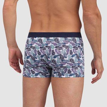 Bóxer de algodón elástico estampado de palmeras con cintura contrastada Mix and Fancy, , DIM