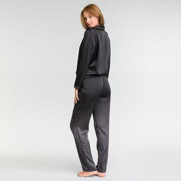 Pantalón largo de pijama satén negro - Glamour Chic, , DIM