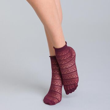 Socquettes à rayures et petites étoiles bordeaux 18D Style-DIM
