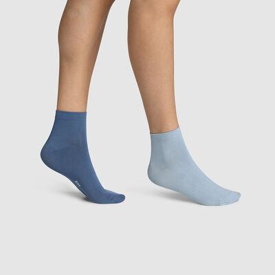 Pack de 2 pares de calcetines para mujer de microfibra azul Dim Skin, , DIM