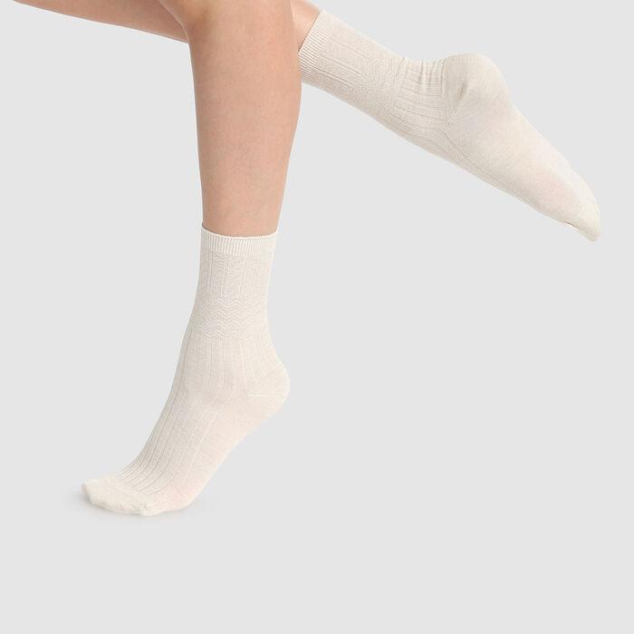 Calcetines para mujer con malla de lana texturizada marfil Dim Laine, , DIM