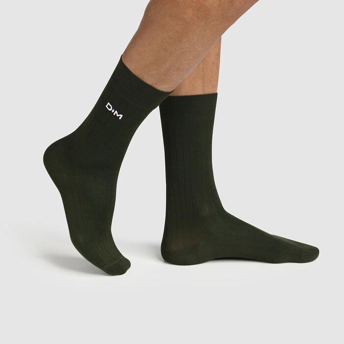 Calcetines para hombre hilo de Escocia de malla de canalé caqui Made in France Dim, , DIM