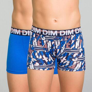 Pack de 2 bóxers niño de algodón azul eléctrico y estampado - Eco Dim, , DIM