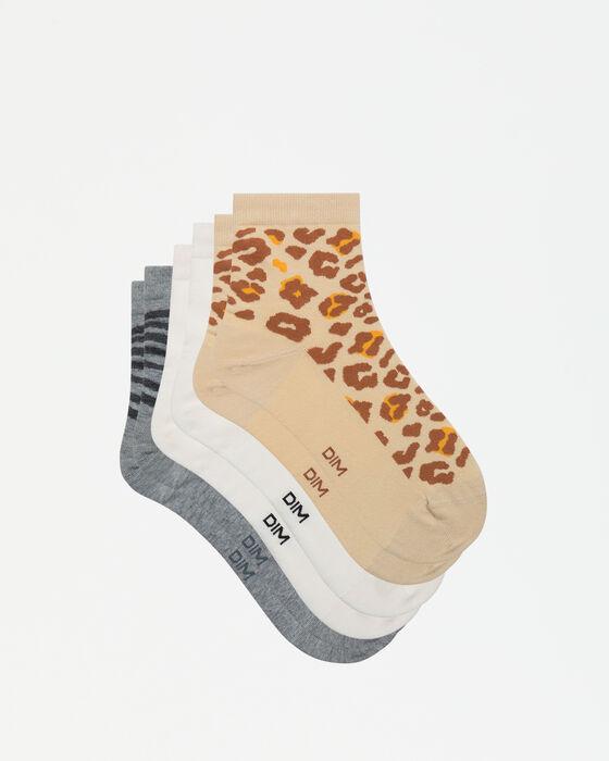 Pack de 3 pares de calcetines bajos animal print Dim Pockets, , DIM