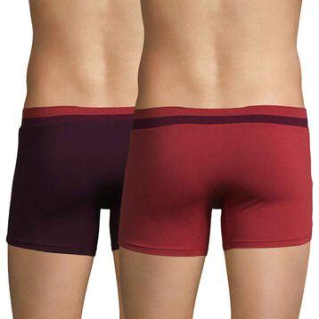 Lot de 2 boxers rouge samba et violet sombre Soft Touch Pop-DIM