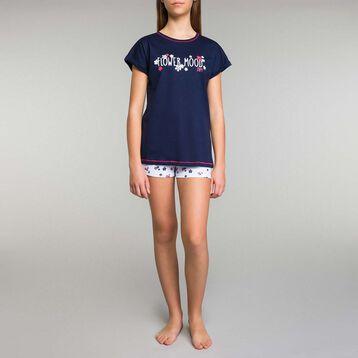 Pijama corto de niña azul marino con estampado de flores - Stripes, , DIM
