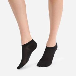 Lote de 2 calcetines bajos invisibles negros Light Coton para mujer, , DIM