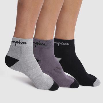 Pack de 3 pares de calcetines bajos negro, gris oscuro y gris claro - Champion Performance , , DIM