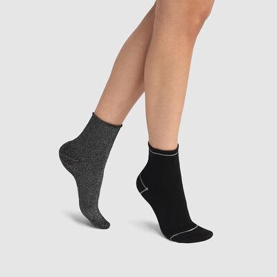Pack de 2 pares de calcetines bajos de algodón y lurex plateado y negro Coton Style, , DIM