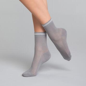 Calcetines bajos efecto tricot grises - Dim Coton Style, , DIM