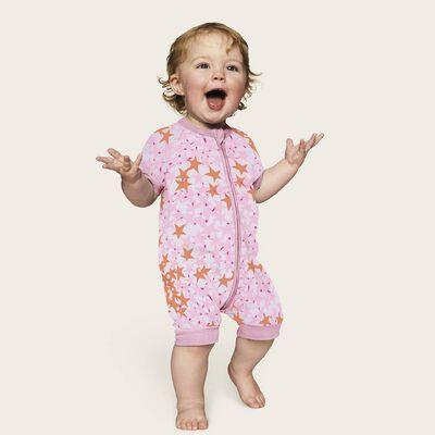 Pijama de manga corta con cremallera de algodón elástico rosa con estampado de estrellas, , DIM