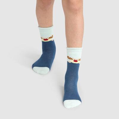 Calcetines para niños antideslizantes muñeco de nieve azul Kids Cocoon, , DIM