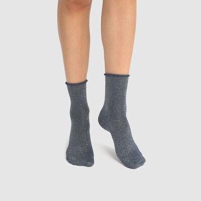 Calcetines bajos para mujer de algodón peinado total lurex azul Coton Style, , DIM