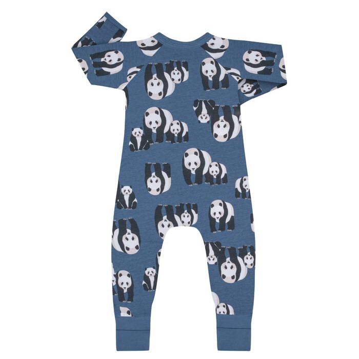Pijama con cremallera de algodón elástico azul con estampado panda, , DIM