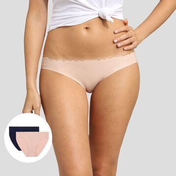 Pack de 2 braguitas de algodón rosa palo y azul Body Touch Coton , , DIM