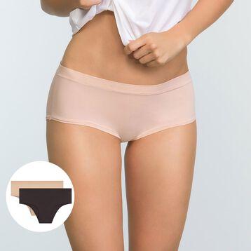Pack de 2 culottes de algodón elástico rosa palo y taupe Body Mouv , , DIM