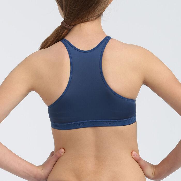 Dim Micro girls' blue microfibre triangle sports bra, , DIM