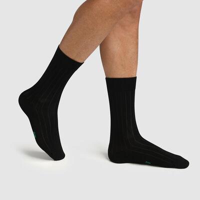 Pack de 2 pares de calcetines para hombre lyocell de canalé negro Green by Dim, , DIM