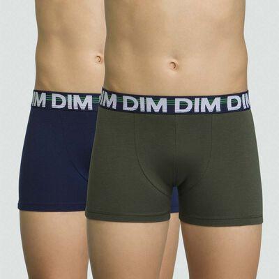 Pack de 2 boxers para niño verde militar de algodón elástico Eco Dim, , DIM