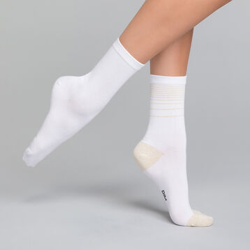 Pack de 2 pares de calcetines blancos con lurex dorado - Dim Coton Style, , DIM