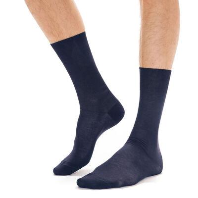 Calcetines azul marino de hilo de Escocia para hombre, , DIM