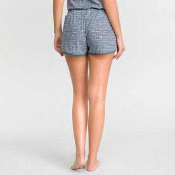 Pantalón corto de pijama estampado azul y verde - Odyssée, , DIM