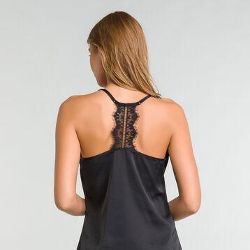 Camiseta de tirantes de pijama con encaje negro satén - Glamour, , DIM