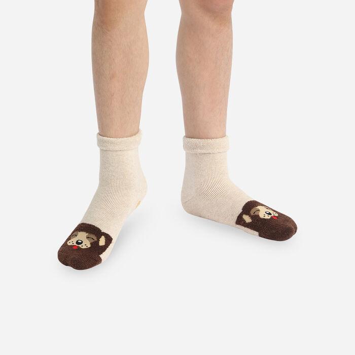 Calcetines infantiles antideslizante con estampado de perros Gris Kids Cocoon, , DIM