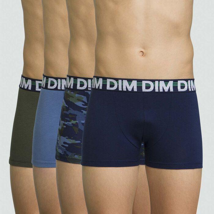 Pack de 4 boxers para niño azul marino de algodón elástico, , DIM