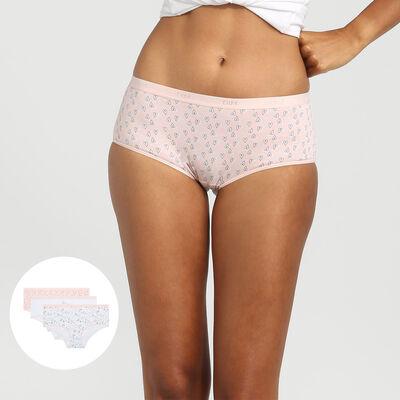 Pack de 3 culottes de algodón elástico estampado love Les Pockets Coton de Dim, , DIM