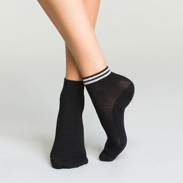 Pack de 2 pares de calcetines bajos negros de algodón y lurex, , DIM