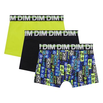 Pack de 3 bóxers niño de algodón, negro amarillo y azul estampado - Trio DIM, , DIM
