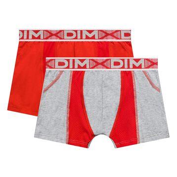 Pack de 2 bóxers niño de algodón elástico rojo y gris  - 3D Flex Air, , DIM