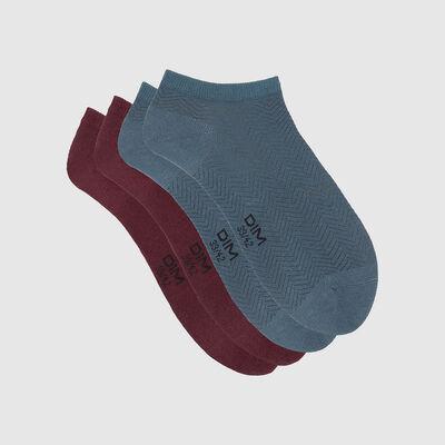 Pack de 2 pares de calcetines bajos estampado cabra azul Coton Style, , DIM