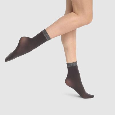 Calcetines bajos de fantasía negros con banda de lurex en el tobillo Dim Style 23D, , DIM