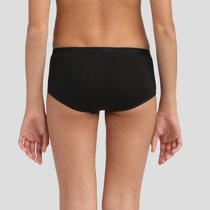 Pack de 3 culottes negros de algodón para niña Texte Les Pockets, , DIM