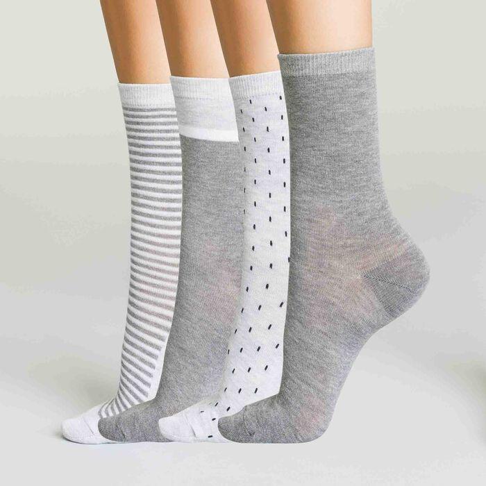 Pack de 4 pares de calcetines grises para mujer Ecodim, , DIM