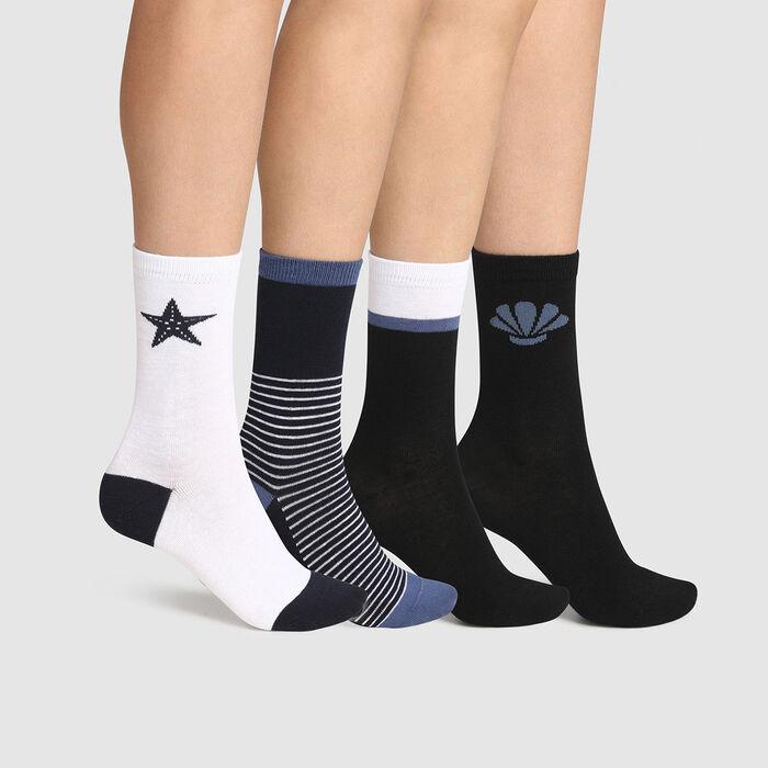Pack de 4 pares de calcetines para mujer de algodón fantasía azul blanco Dim, , DIM