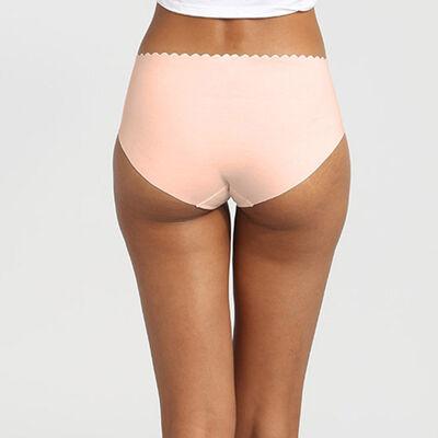 Pack de 2 braguitas de talle alto de algodón chocolate/rosa palo Body Touch, , DIM