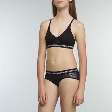 Sujetador triangular deportivo negro niña de algodón elástico Dim Sport, , DIM