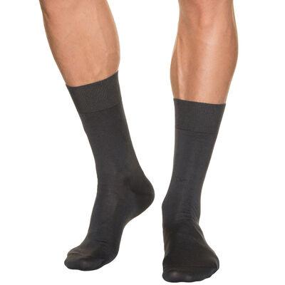 Calcetines gris oscuro de hilo de Escocia para hombre, , DIM
