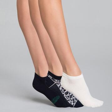 Pack de 3 pares de calcetines bajos liberty - Pocket Coton, , DIM