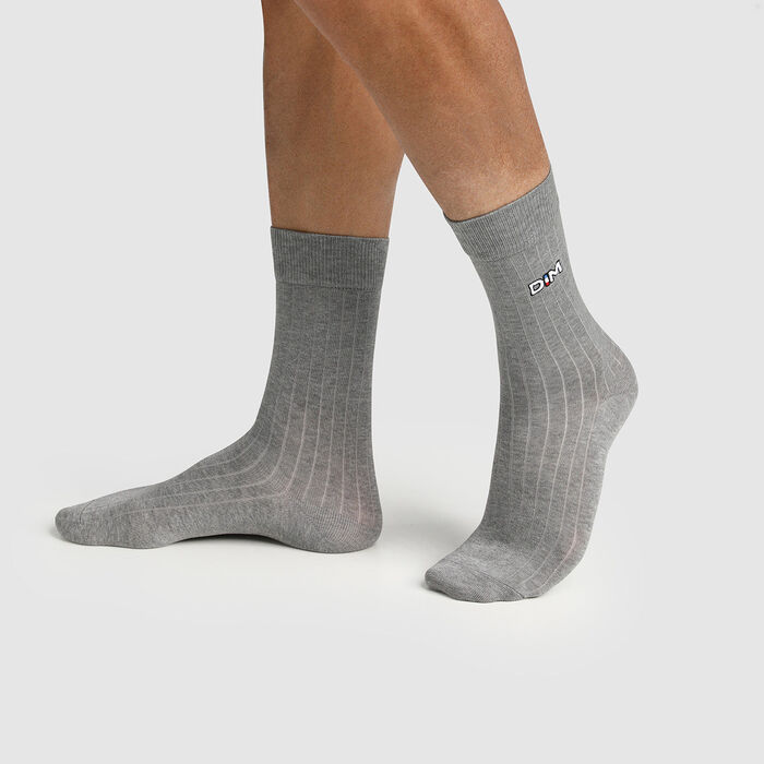 Calcetines para hombre hilo de Escocia de malla de canalé gris Made in France Dim, , DIM