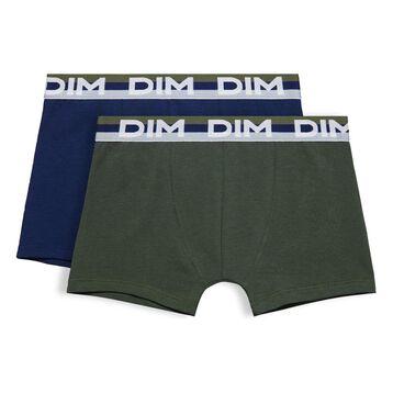 Lot de 2 boxers vert militaire et bleu Eco DIM Boy-DIM
