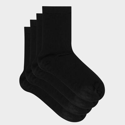 Pack de 2 pares de calcetines de mujer Algodón negro mercerizado, , DIM